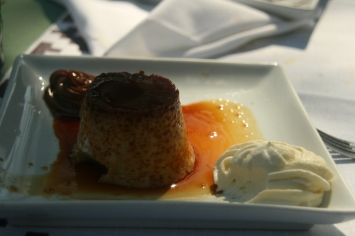 This is my personal favorite, Flan.  The condiments are key, crema (whipped cream) and dulce leche (milk carmel)